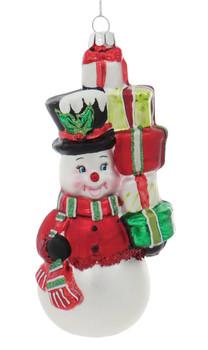Fun Presents for All Snowman Glass Ornament