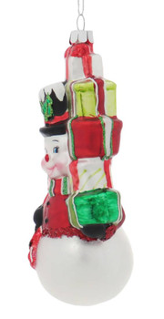 Fun Presents for All Snowman Glass Ornament left side