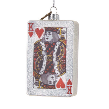 Playing Cards King of Hearts Glass Ornament