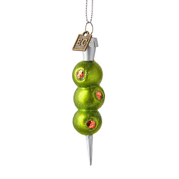 Three Cocktail Green Olives Glass Ornament