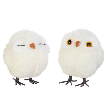 2 pc Cute Plush Fabric Baby Owl with Legs Ornament SET