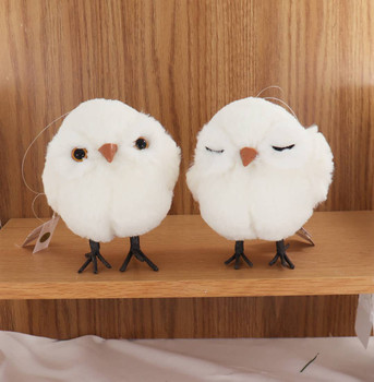 2 pc Cute Plush Fabric Baby Owl with Legs Ornament SET Front