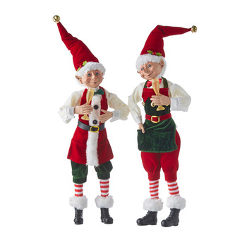 Set of 2 Champagne Glass Posable Elf Doll Shelf Sitters