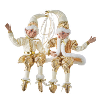 Set of 2 Gold and Off-White Elegance Posable Elf Doll Shelf Sitters