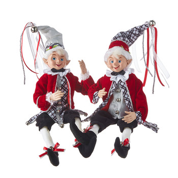 Set of 2 Red, Silver and Black Posable Elf Doll Shelf Sitters