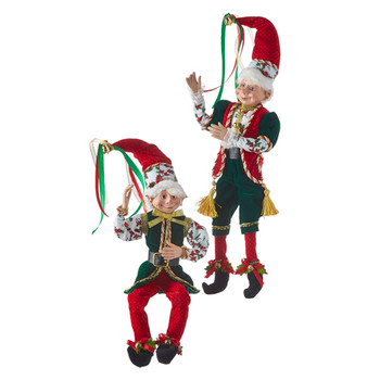 Set of 2 Christmas Even Posable Elf Doll Shelf Sitters