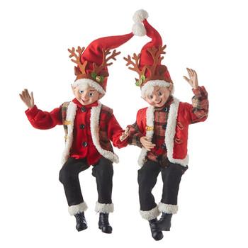 Reindeer Antlers Posable Elf Doll Shelf Sitter
