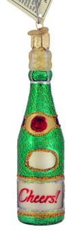 Cheers Champagne Bottle Old World Christmas Glass Ornament 32153