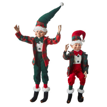 Set of 2 Bowties and Plaid Posable Elf Doll Shelf Sitters, Figurines