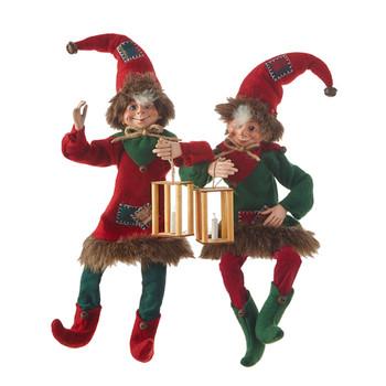 Candle Lantern Patchwork Poseable Elf Doll Shelf Sitter