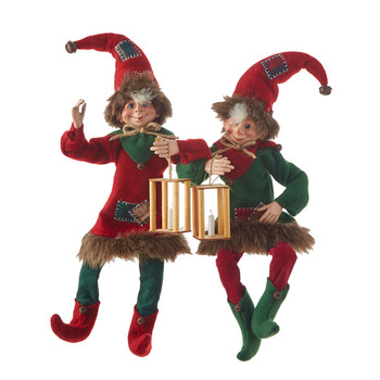 Set of 2 Candle Lantern Patchwork Poseable Elf Doll Shelf Sitters