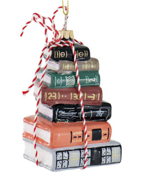 Stacked Books Glass Ornament
