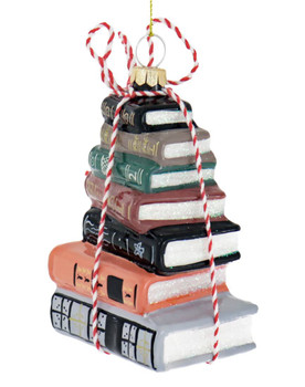 Stacked Books Glass Ornament Side