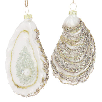 Oyster with Pearl Glass Ornament Silver