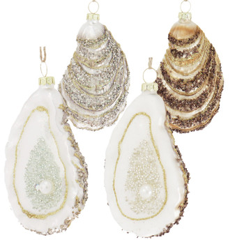 """2 pc Oyster with Pearl Glass Ornaments SET, 4"""", RGGO-6681"""