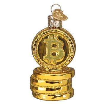 Bitcoin Glass Ornament