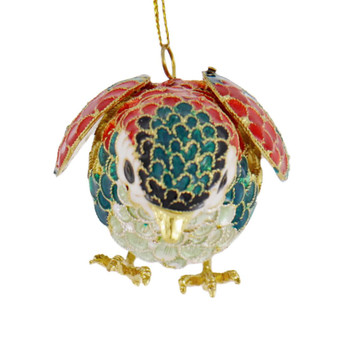 Cloisonne Articulated Song Bird Ornament  Front