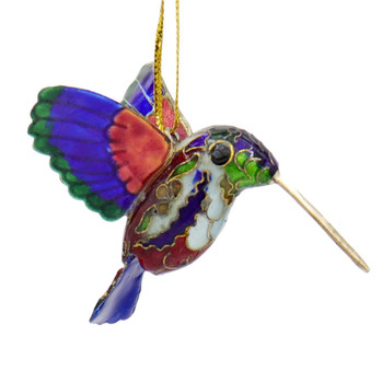 Cloisonne Hummingbird Ornament - Purple, Red, Green