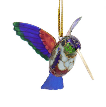 Cloisonne Hummingbird Ornament - Purple, Red, Green Side Front