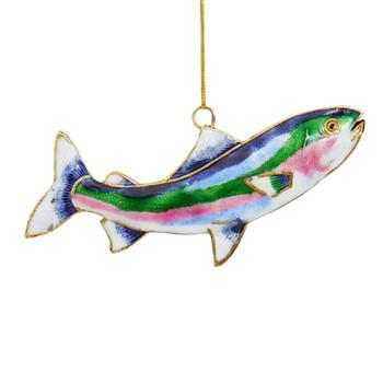 Enameled Metal Rainbow Trout Ornament