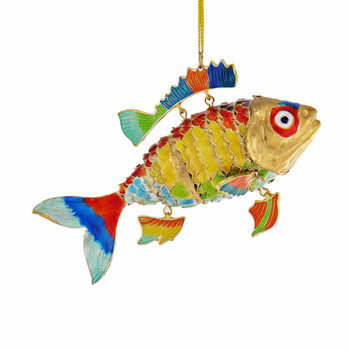 Cloisonne Tropical Fish Ornament - Multi, Yellow Sides