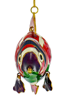 Cloisonne Articulated Tropical Fish Ornament - Pink, Green Front