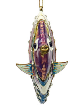 Cloisonne Tropical Fish Ornament - Jeweled, Purple, Green Front
