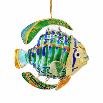 Cloisonne Tropical Fish Ornament - Rounded, Green, Blue
