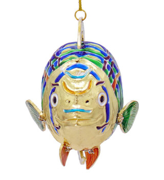 Cloisonne Tropical Fish Ornament - Rounded, Green, Blue Front