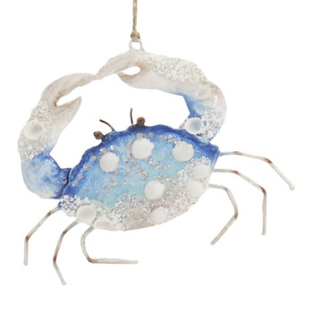 Enameled Metal with Shells Blue Crab Ornament