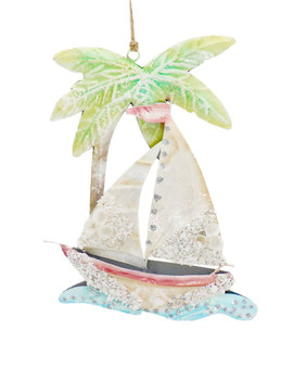 Enameled Metal with Shells Sailboat Ornament