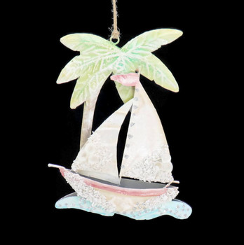Enameled Metal with Shells Sailboat Ornament Front