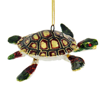 Cloisonne Articulated Sea Turtle Ornament - Red, Black