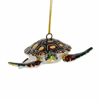 Cloisonne Articulated Sea Turtle Ornament - Red, Black Front