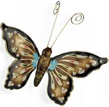 Cloisonne Articulated Butterfly Ornament, Multi, Brown
