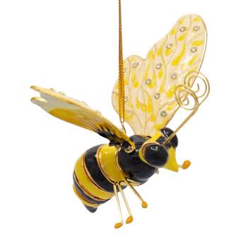 Cloisonne Bee Ornament - Yellow, Cream, Black, Large