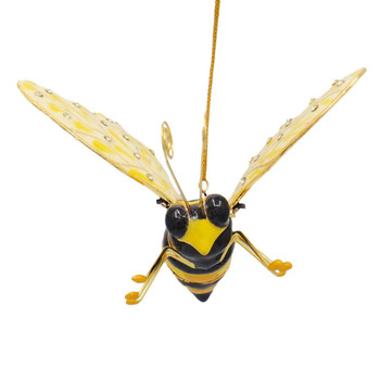 Cloisonne Bee Ornament - Yellow, Cream, Black, Large Front