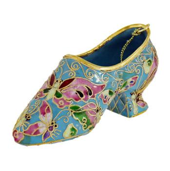 Cloisonne Butterfly Design Ladies Shoe Ornament Left Side Front