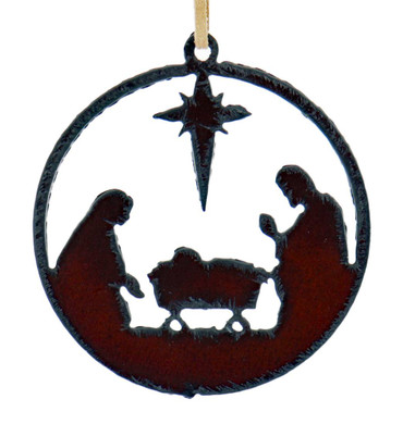 Rustic Cut Steel Nativity Ornament