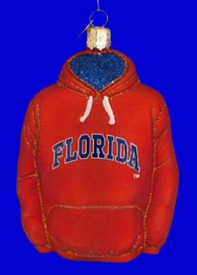 University of Florida Hoodie Old World Christmas Glass Ornament 64403