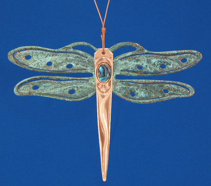Verdigris Copper Dragonfly Ornament in USA