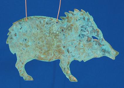 Verdigris Copper Javelina Ornament