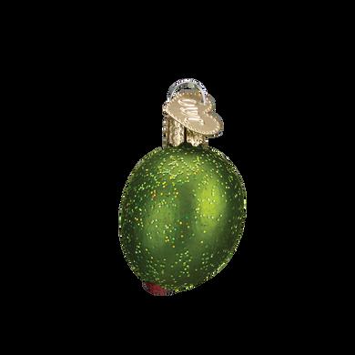 "Stuffed Green Olive Glass Ornament, 1 1/2"", OWC #28072"