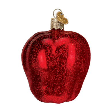 Red Delicious Apple Fruit Glass Ornament