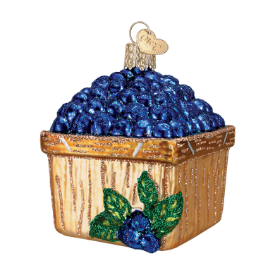 """Basket of Blueberries Glass Ornament, 3"""", OWC #28102"""