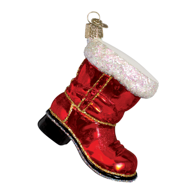 Santa's Boot Glass Ornament