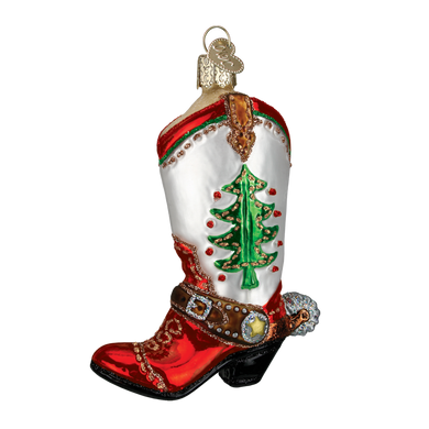 Christmas Cowboy Boot Glass Ornament