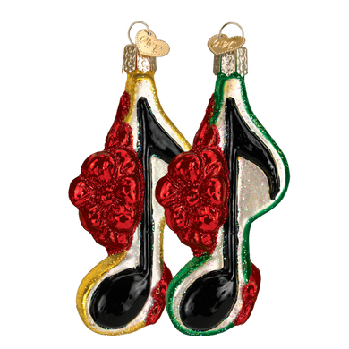 Music Note with Bow Glass Ornament