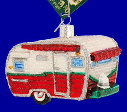 Travel Trailer Camping Old World Christmas Glass Ornament 46041