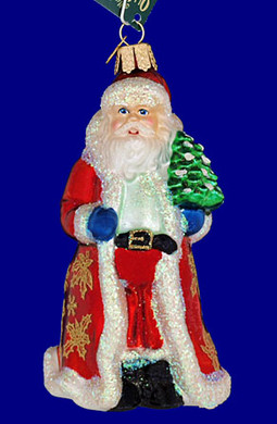 glistening golden Santa Old World Christmas Glass Ornament 40249